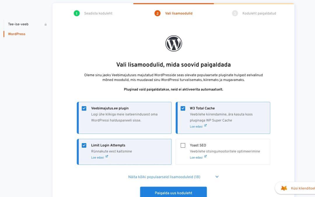 WordPressi paigaldamine ühe klikiga